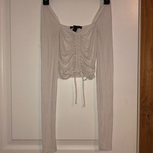 Forever 21 Cinched Crop Long-sleeved Top